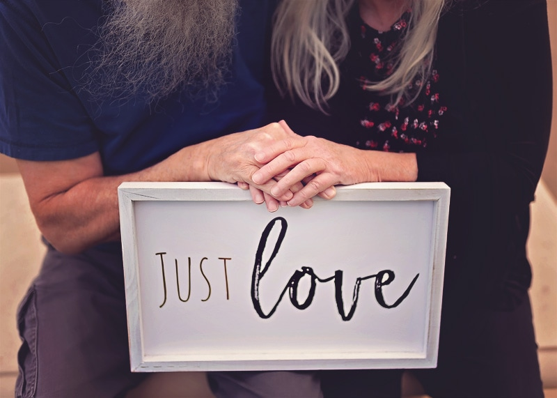 """Engagement & Couples Photography - couple with """"just love"""" sign - Temecula California Engagement & Couples Photographer"""