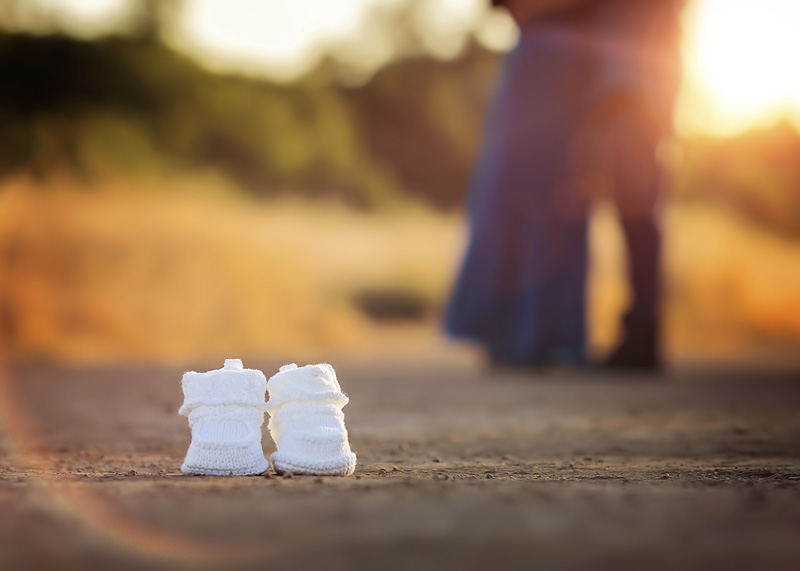 Maternity Photography - detail shot of little baby shoes on dirt road - Temecula California Maternity Photographer