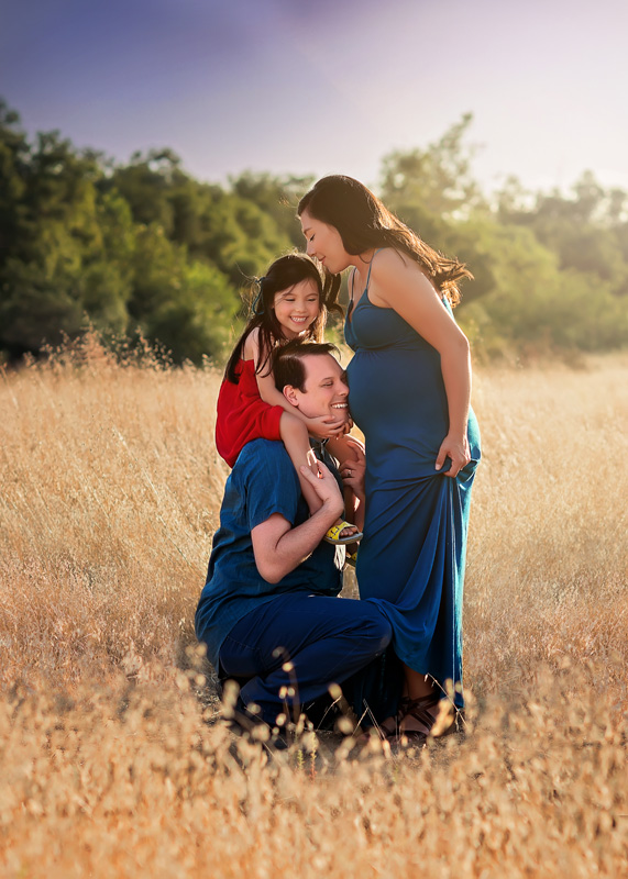 Maternity Photography - family shot in a field - Temecula California Maternity Photographer