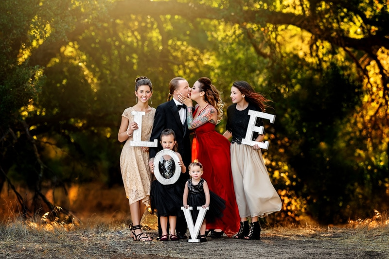Family of six bringing the oscars with a tuxedo and fancy gowns to the wild rustic location in Temecula California