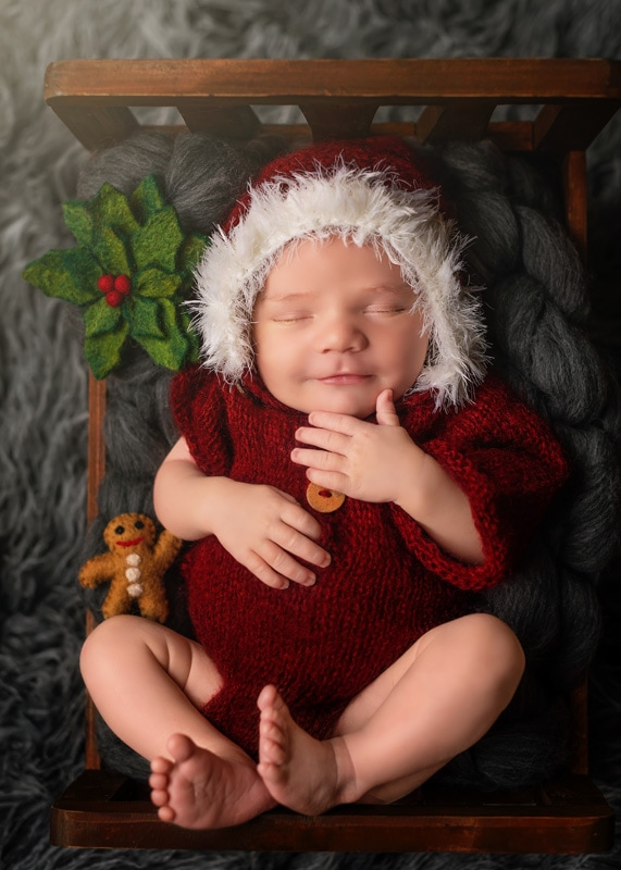 Lifestyle Photography, baby in santa outfit