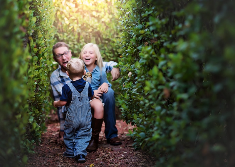 Family Photography, daddy playing with kids in a grass hedge