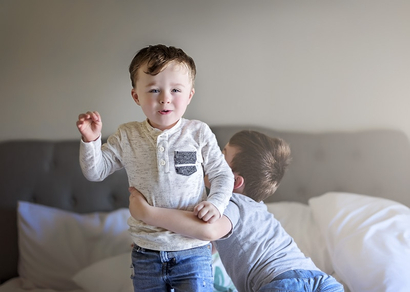 Lifestyle Photography - brothers playing on bed - Temecula California Lifestyle Photographer