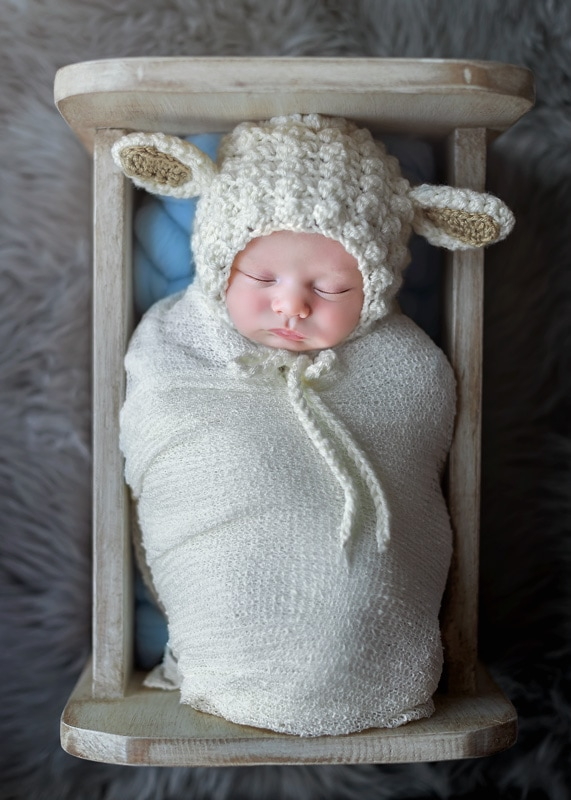 Lifestyle Photography, baby sleeping in miniature bed with lamb ears