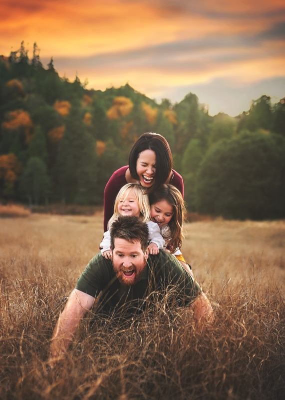Family Photography, family playing on daddy's back