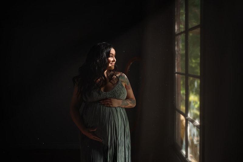 Beautiful Indoor Studio Pregnancy Portrait in Maxi Gown