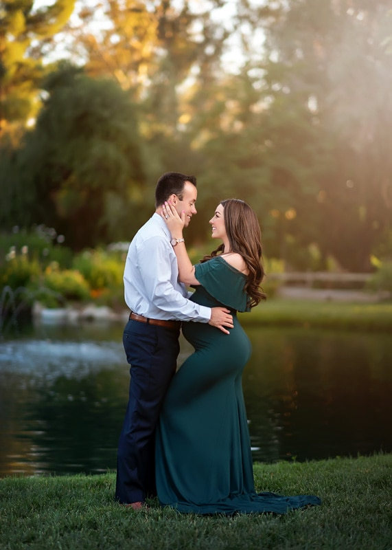 Maternity Photography - wife holding husband's face - Temecula California Maternity Photographer