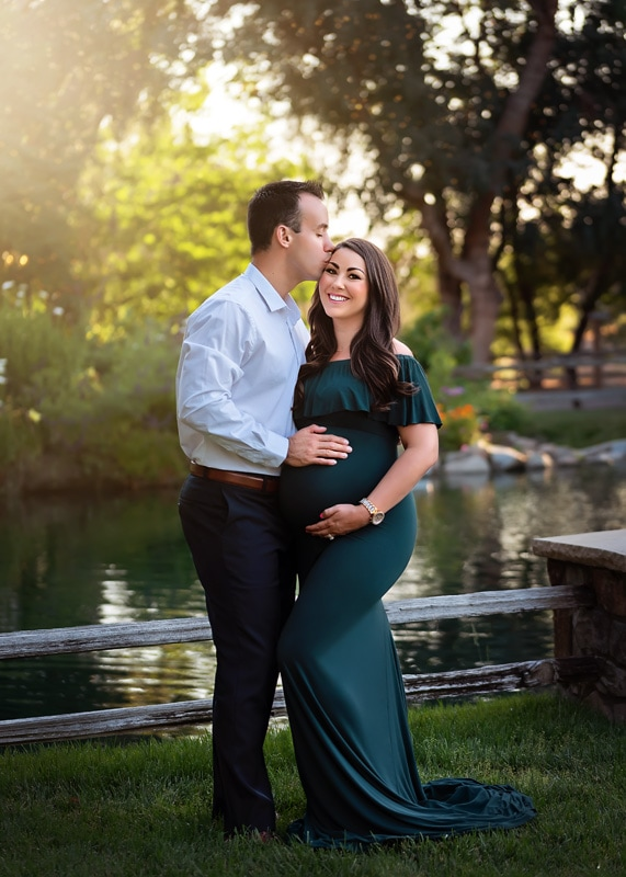 Maternity Photography - wife with husband's hand on her belly - Temecula California Maternity Photographer