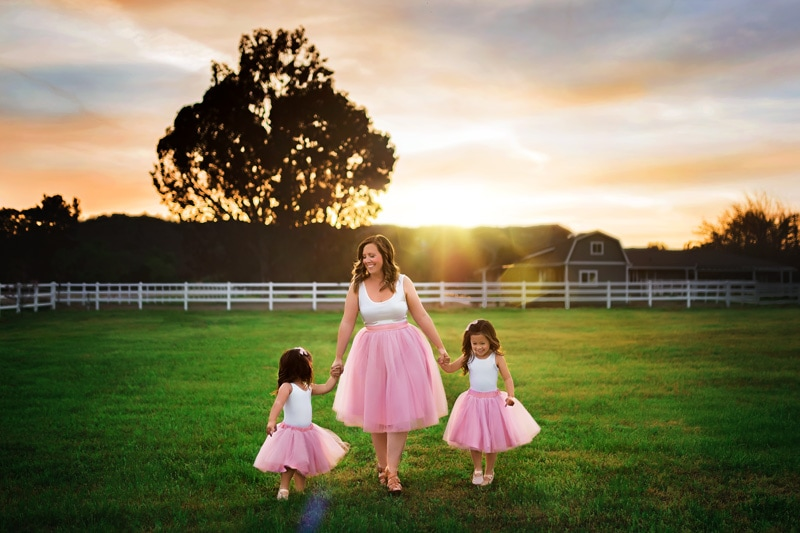 A beautiful spring mommy and me photograph with tutus at a Temecula ranch