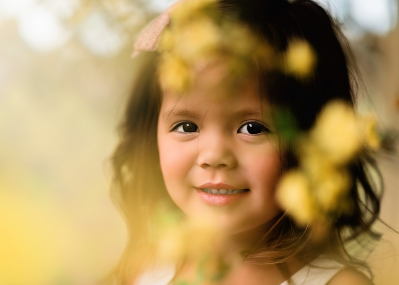 Spring Toddler Session behind yellow roses