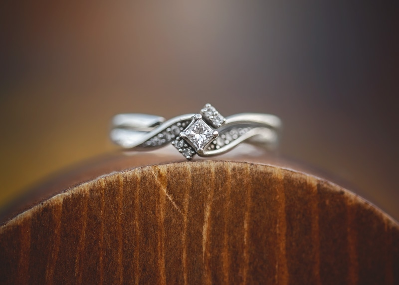 Couples Photography, Macro close up image of an engagement diamond ring