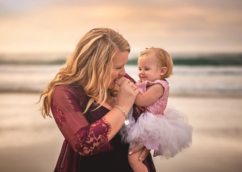 Family Photography, mother and daughter at the beach
