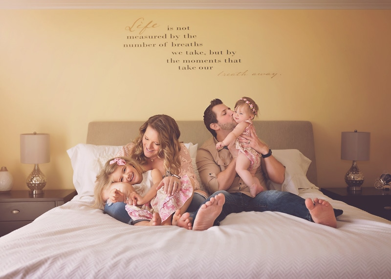 Lifestyle Photography, family playing in bed together