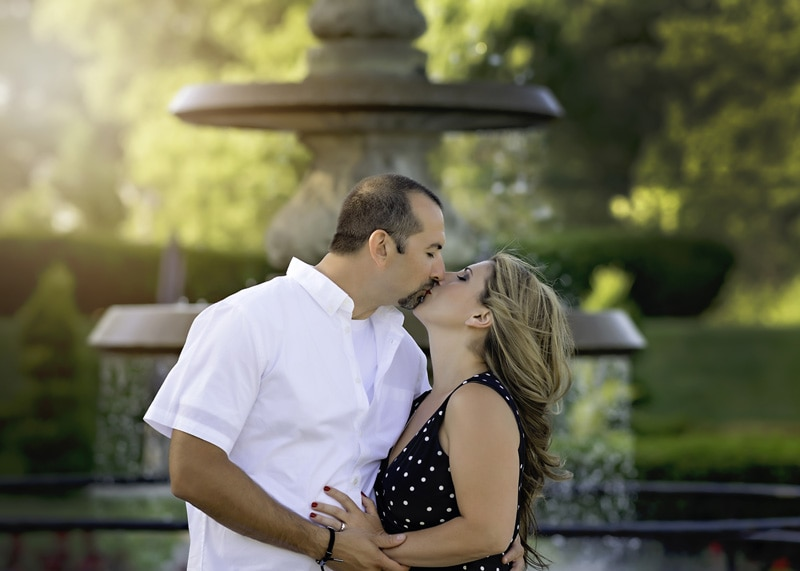 Engagement & Couples Photography - couple kissing by fountain - Temecula California Engagement & Couples Photographer