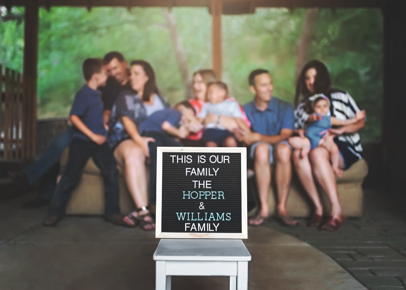Family Photography - family in background behind sign - Temecula California Family Photographer