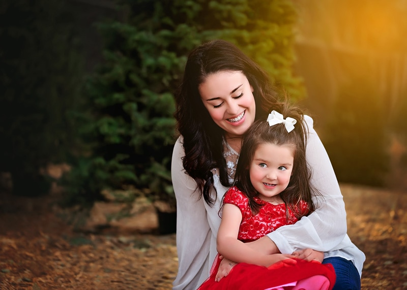 Family Photography - little girl in red with mommy - Temecula California Family Photographer