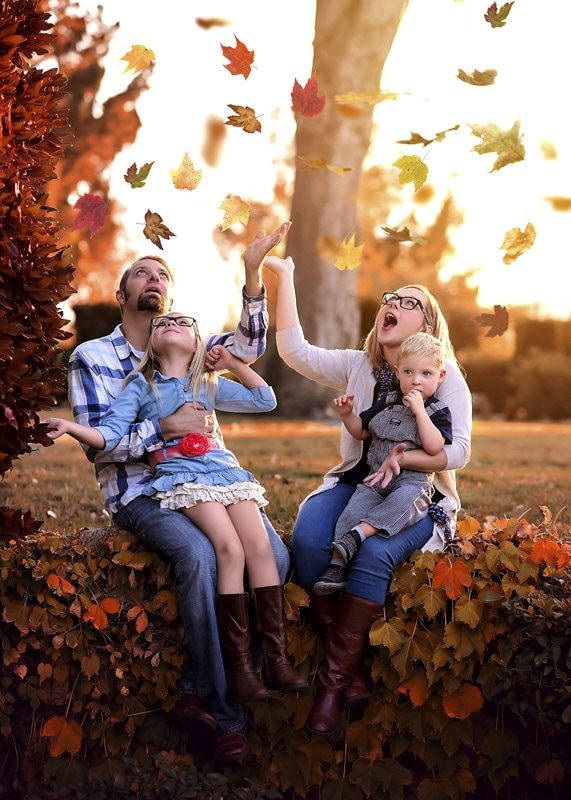 Family Photography - family with fall leaves - Temecula California Family Photographer