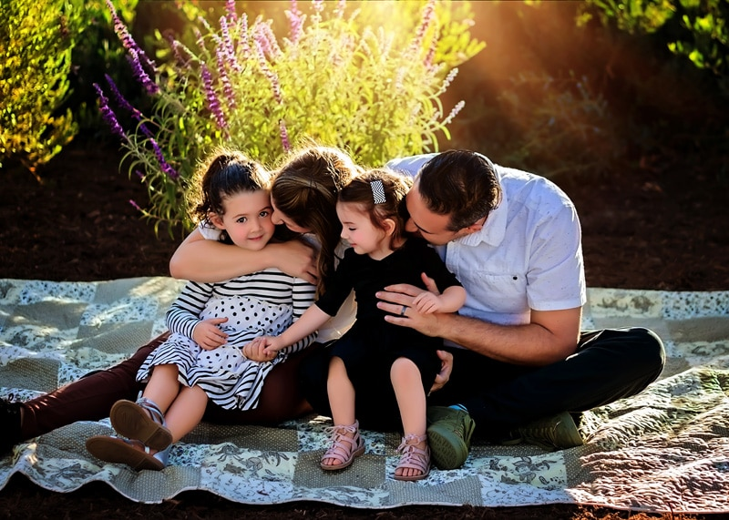 Family Photography - family cuddled up on a blanket - Temecula California Family Photographer