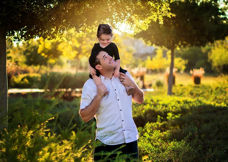 Family Photography - daughter on father's shoulders - Temecula California Family Photographer