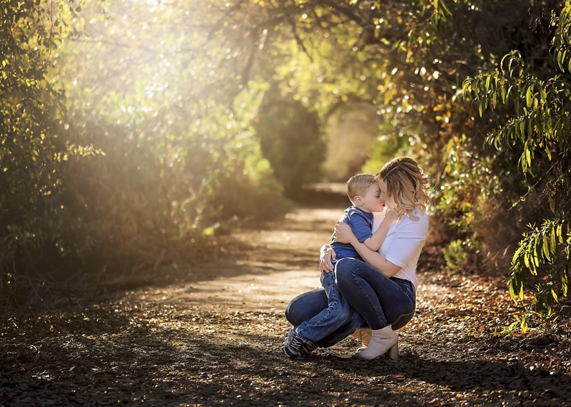 Family Photography - mother knelt down with son - Temecula California Family Photographer