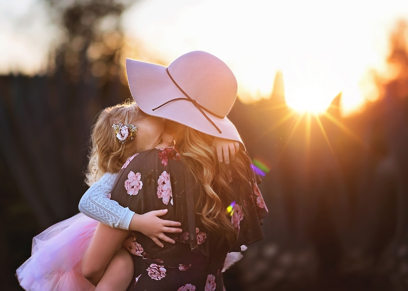 Family Photography - mother holding daughter at sunset - Temecula California Family Photographer