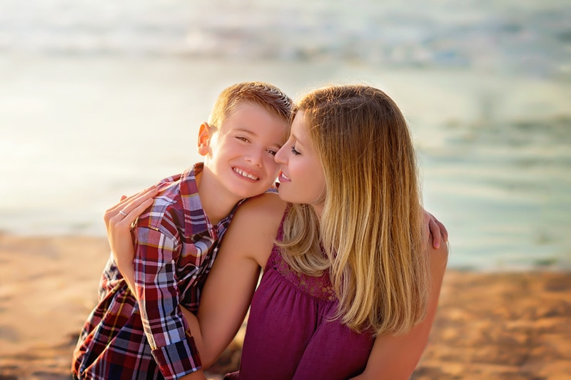 Family Photography - mother and son at beach - Temecula California Family Photographer